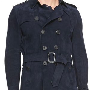 Burberry Men's Blue Suede Trench Coat Size 52
